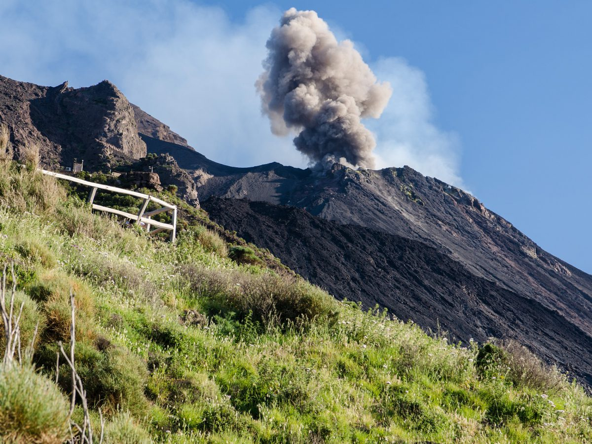 Volcano explosions by day - in Stromboli, Aeolian Islands